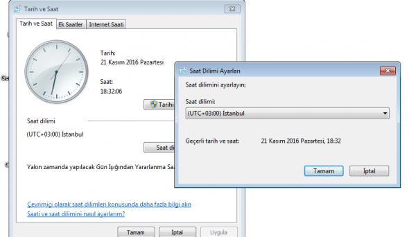 Windows 7 Saat Farkı Sorunu Çözümü
